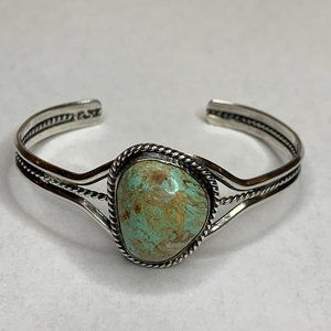 Sterling 925 Green Turquoise Cuff Bracelet